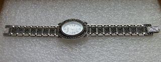 Luxus Art Deco/vintage Rivage 925 Silber Armband Uhr Mit Markasiten Funktional Bild