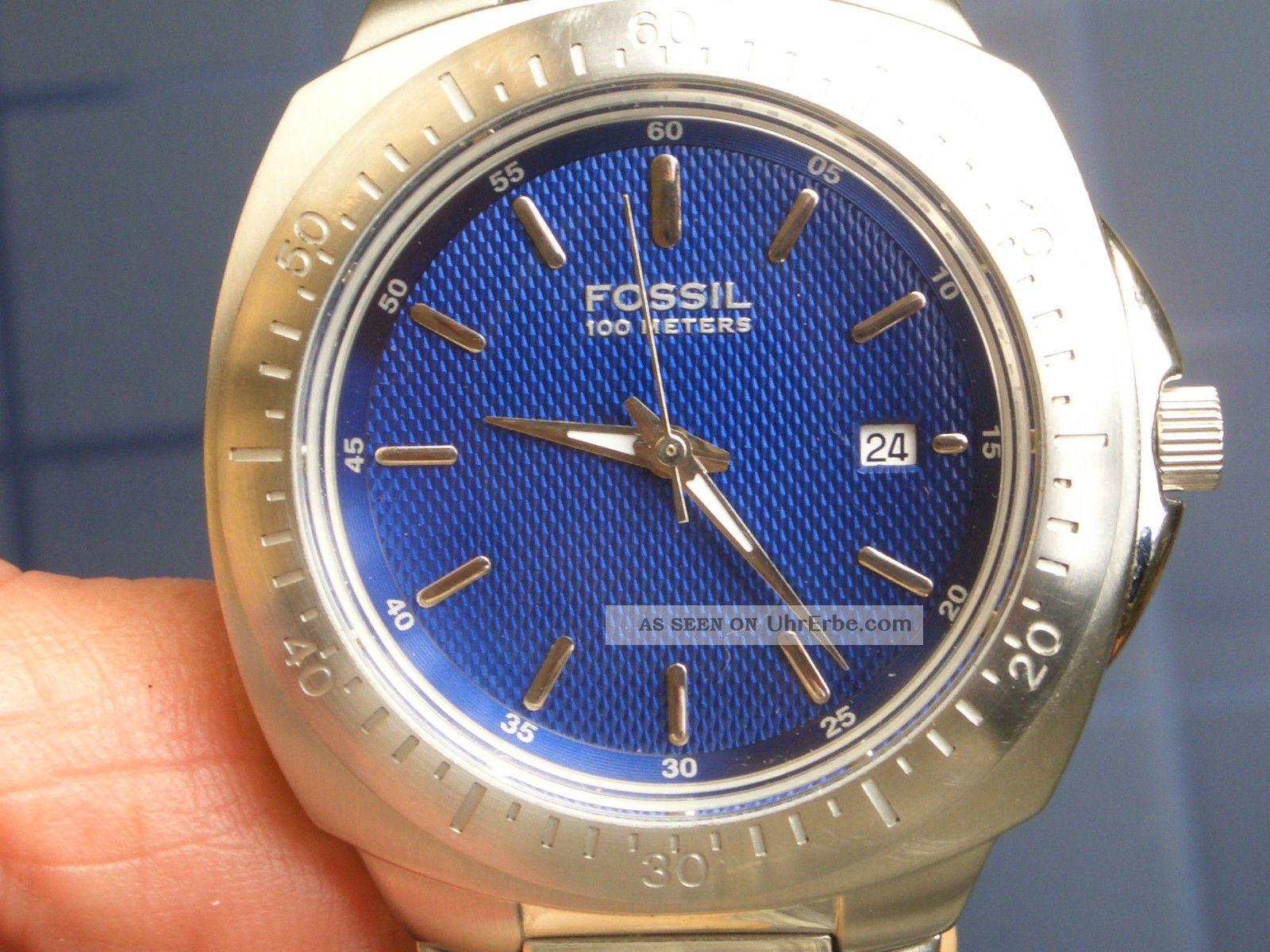 Seltene Fossil Blue Herren Armbanduhr Gut Erhalten Läuft Gut.