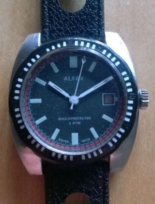 Selten Alfex Sammler Herren Armbanduhr Uhr Analog Handaufzug Vintage 60er/70er Bild