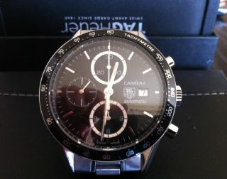 Tag Heuer Carrera Chronograph Calibre 16 Black 41mm On Bracelet Automatic Bild