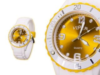 Damen Silikon Armband Uhr In Weiß Und Gelb Bild