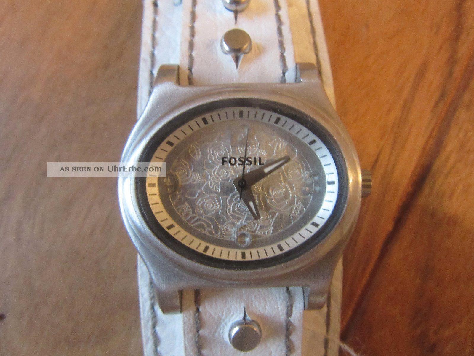 fossil uhr watch mit lederarmband wechselarmband wei und. Black Bedroom Furniture Sets. Home Design Ideas