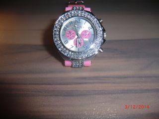 Damen - Uhr,  Armbanduhr In Rosa Mit Glitzersteinchen Bild
