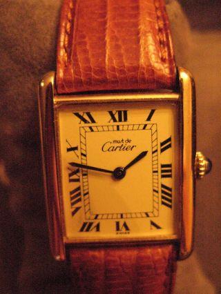 Dau Must De Cartier Tank Silber/ Vergoldet Handaufzugswerk Bild