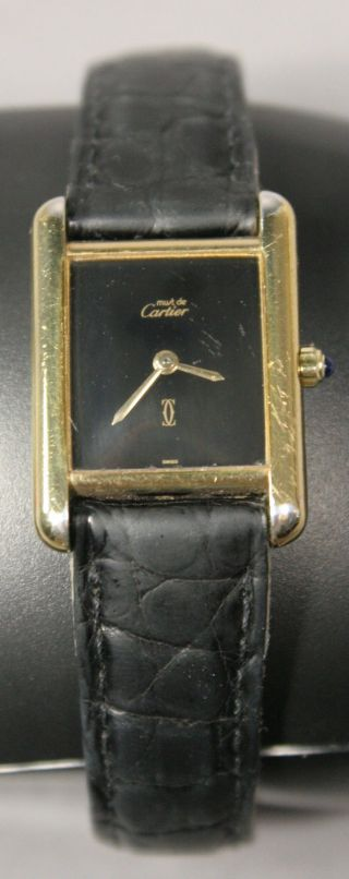 Cartier Les Must De Cartier Vermail Must Tank Quarz Armbanduhr Schwarz 966 - 10 - 1 Bild