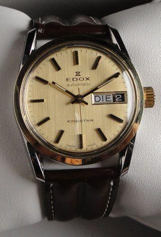 Vintage Armbanduhr Automatic Edox Kingstar In Edelstahl –cal.  2879 - Daydate Bild