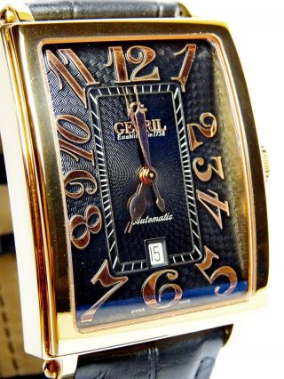 Gevril Herren 5101a Avenue Of Americas Automatische Armbanduhr Krokodilleder. Bild