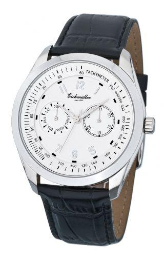 EichmÜller Edelstahl Design Uhr Herrenuhr Datum,  Wochentag Men`s Watch,  Weiß Bild