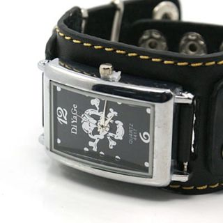 Armbanduhr Uhr Biker Lederarmband Totenkopf Skull Bild