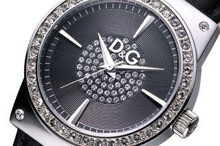 D&g Dolce & Gabbana Damen Uhr Modell Schwarz Mit Kleinen Steinchen - Wertig Bild