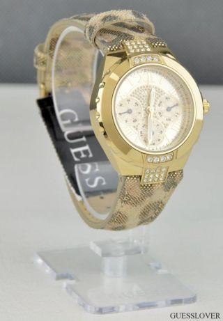Uhr Guess Edelstahl Leopard Leder Damen Neuf U0319l1 Deu Bild