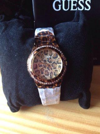 Neu: Guess Damen Uhr Leopard / Gold Np.  199euro - Modellw0084l1 Bild