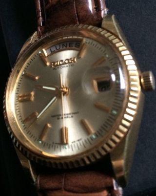 Edel Luxus Ricoh Automatic Automatik Hau Rarität 21 Jewels Date Zb Gold Lupe Top Bild