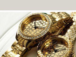 , Guess Damen - Armbanduhr Gold Edelstahl Schmuck Croco Bild