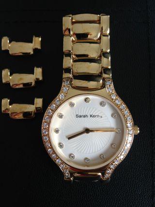 Sarah Kern Damen Armbanduhr Vergoldet Mit Glaskristallen Bild