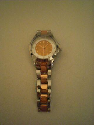 Armbanduhr Metallarmband Armband Uhr Damenuhr Silber Orange Koralle Bild