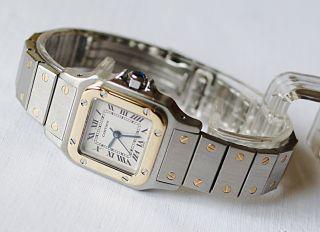 Cartier Santos Damen Uhr Komplett Mit Box Und Papieren Aus 1997 Bild