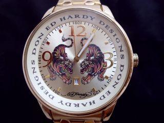 Ed Hardy Herrenuhr Damenuhr Armbanduhr 24 Ct.  Vergoldet Quarz Analog Datum Bild