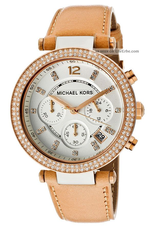 michael kors damenuhr armbanduhr lederband rosegold farben mk5633. Black Bedroom Furniture Sets. Home Design Ideas