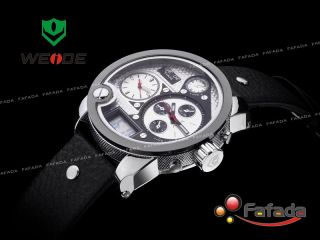 Fafada Dual Quarzuhr Digitaluhr Armbanduhr Herrenuhr Damenuhr Lederarmband Bild
