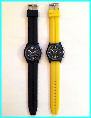 2 Herren Uhren Chronograph Look Watch Schwarz Gelb Silikon Sportuhr Womage Bild