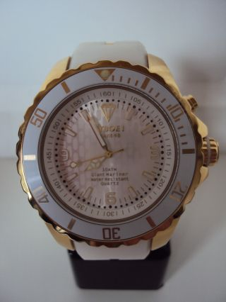 Kyboe Gold Series Kg 004 - 48 Weiß Quarz Uhr 10 Atm Uvp 219€ Led Bild