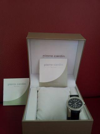 Pierre Cardin Damen Uhr Schwarz Steinbesetzte Lünette Weihnachtsgeschenk Bild