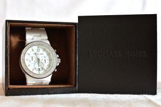 Michael Kors Damenuhr Chronograph Mk 5391 Keramik Weiß Kristiallsteine Bild