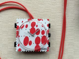 Stamps S.  T.  A.  M.  P.  S.  Uhr Red Bubbles Mit Roter Kautschuk Kette Bild