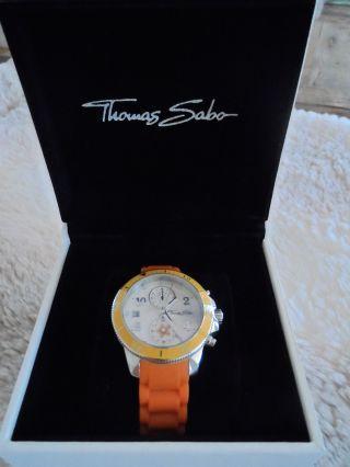Damenarmbanduhr,  Thomas Sabo,  Orangefarbenes Kautschukarmband Bild