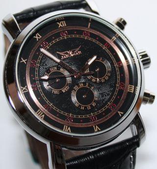 Jaragar Herrenuhr Leder Armband Uhr Red&black Geschenk Automatik Mechanisch Bild