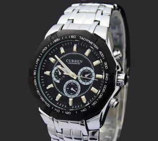 Der Neue Curren Analog Armbanduhr,  Schwarz Und Silber,  Aus Edelstahl Bild