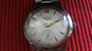 Seltene Armbanduhr Longines Vollstahl Cal.  12.  68 Z Handaufzug Bild