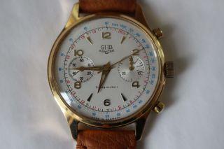 Gub Chrono Glashütte Kaliber 64 Schaltradchronograph Handaufzug Tachymeterskala Bild