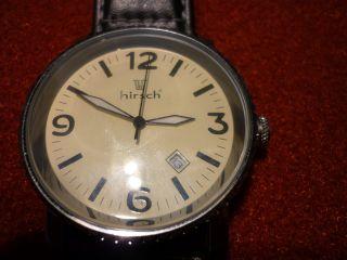 Hirsch - Armband - Uhr - Große Zahlen Leuchtzeiger Mit Datum Echt Leder Armband Bild