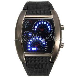 Schwarz Binär Armbanduhr Led Armband Uhr Digital Uhren Dial Flash Sports Herren Bild