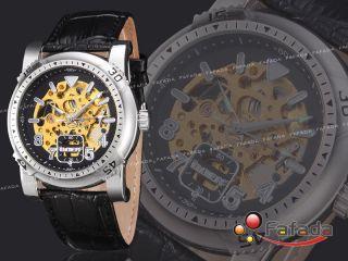 Fafada Mechanisch Automatik Armbanduhr Herrenuhr Uhr Uhren Lederarmband Golden Bild