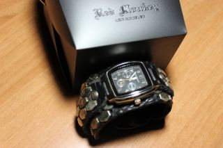 Uhr,  Herren,  Von Red Monkey Los Angeles,  Nieten,  Lederarmband,  Schwarz,  Analog Bild