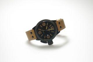 Tw Steel Uhr Herren Hell Braun Lederband Twa - 202 Np459€schwarzes Gehäuse Bild