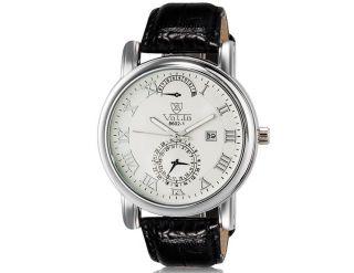 Valia 8602 - 1 Herren Armbanduhr Wrist Watch Kalender Roman Nummer Weiß Yw2130w Bild