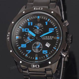 Schwarz Blau Herren Analog Quarzuhr Datums Herren Uhr Edelstahl Armbanduhr Bild