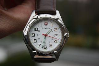 Wenger Uhr 7311x Wenger Herren Watch Clock Swiss Made Echt Leder Armband Bild