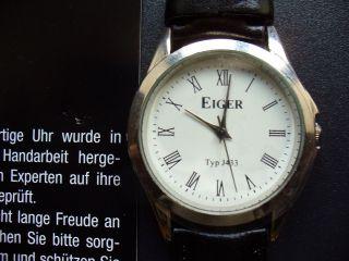 Herrenarmbanduhr Eiger Typ J433 Weiß Mit Schw.  Armband Bild