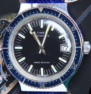 Timex Elegant - Sportliche Vintage Taucheruhr/diver 1970er,  Blau Automatik Bild