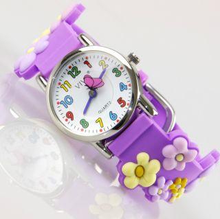 Kinder Mädchen Vive Lernuhr Armband Uhr Silikon Watch Analog Blumen Lila 22 Bild