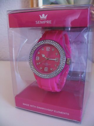 Sempre Colour Watch Armbanduhr Uhr Kristalledition Swarovski Elements Pink Bild