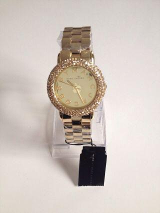 Marc Jacobs Marci Mbm3191 Top Moderne Gold Uhr Hinkucker Mit Steinen Besetzt Bild