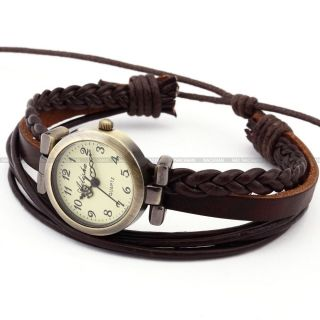 Fashion Weben Damenuhr Analog Quarz Uhr Braun Armreif Armbanduhr Kunstleder - D Bild