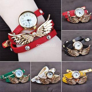 Mode Geschenk Frauen - Mädchen - Retro - Flügel Pu - Leder - Armband - Uhr - Armbanduhr Bild