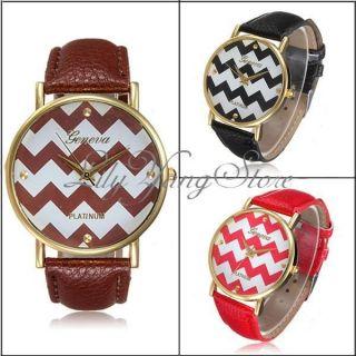 Geneva Leder Damenuhr Armbanduhr Mädchen Wellen Sport Uhr Lederarmband Uhren Bild